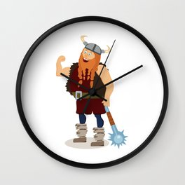 Red-bearded fat viking with a mace Wall Clock