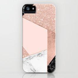 Modern rose gold glitter black white marble geometric color block iPhone Case