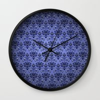 haunted mansion Wall Clocks featuring Beauty Haunted Mansion Wallpaper Stretching Room by ThreeBoys