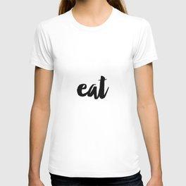 Svetulka script font eat sign script letters cut of wood. T-shirt