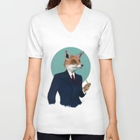 mr fox V-neck T-shirts featuring Mr. Fox by FAMOUS WHEN DEAD
