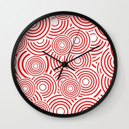 circles in red and white Wall Clock