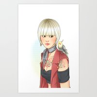 birdy Art Prints featuring Birdy by Lotty