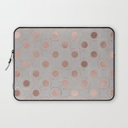 Rosegold simple pink metal foil polkadots on grey background 1 Laptop Sleeve