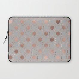 Rosegold simple pink metal foil polkadots on grey background 1  Laptop Sleeve