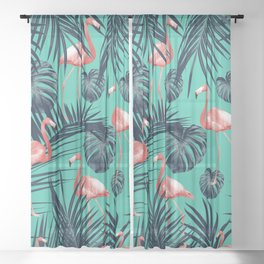 Tropical Flamingo Pattern #7 #tropical #decor #art #society6 Sheer Curtain