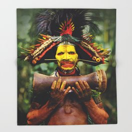 Papua New Guinea Chief Throw Blanket