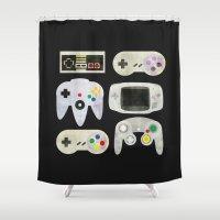 gamer Shower Curtains featuring Gamer Nostalgia by discojellyfish