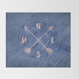 Rosegold and Blue Compass Throw Blanket