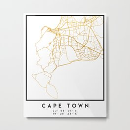 CAPE TOWN SOUTH AFRICA CITY STREET MAP ART Metal Print