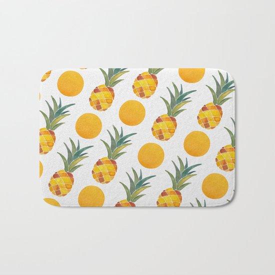 Pineapple Dot Pattern Bath Mat