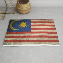 Old and Worn Distressed Vintage Flag of Malaysia Rug