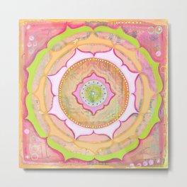 Pink Lotus Mandala Metal Print