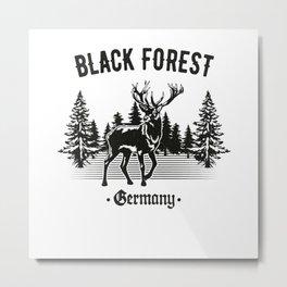 Black Forest Germany Deer with Trees Metal Print