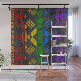 Colorful Geometric Wooden texture pattern Wall Mural