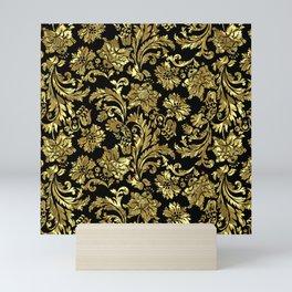Black & Shiny Gold Vintage Floral Damasks Mini Art Print