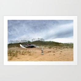 Beached Catamaran Art Print