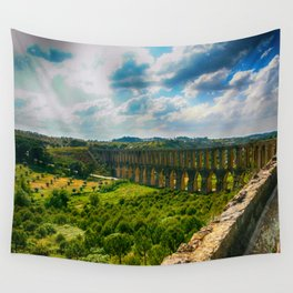 Pegões Aqueduct - Colorful Wall Tapestry