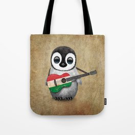 Baby Penguin Playing Hungarian Flag Acoustic Guitar Tote Bag