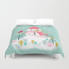 Holiday Snowman by Andrea Lauren  Duvet Cover