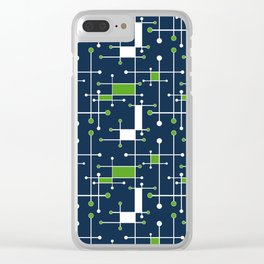 Intersecting Lines in Navy, Lime and White Clear iPhone Case