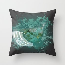 Whale emoji in splash abstract Throw Pillow