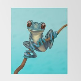 Cute Blue Tree Frog on a Branch Throw Blanket