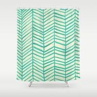 herringbone Shower Curtains featuring Mint Herringbone by Cat Coquillette
