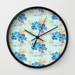 Seaside Floral Print Wall Clock