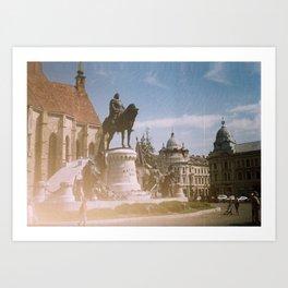 Cluj Napoca: Mathia Corvin statue group Art Print