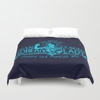 korean Duvet Covers featuring Jean Claude Korean Lady by Emily Doyle
