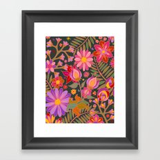Flowers on Green Framed Art Print