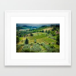 Tuscan Hillside, San Gimignano, Italy Framed Art Print