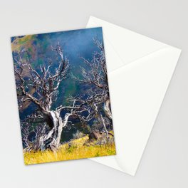 Old trees against the backdrop of the mountain Stationery Cards