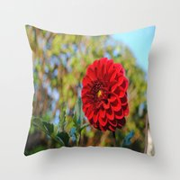 dahlia Throw Pillows featuring Dahlia by Renee Trudell
