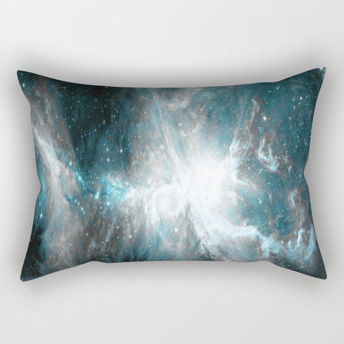 Orion Nebula Teal Gray Galaxy Rectangular Pillow