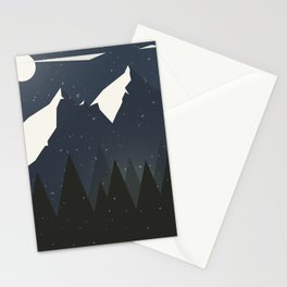 Mountains and Forest of Pine trees at night. Winter Landscape - Illustration Stationery Cards