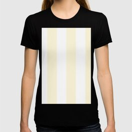 Wide Vertical Stripes - White and Cornsilk Yellow T-shirt