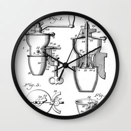Coffee Mill Patent - Coffee Shop Art - Black And White Wall Clock