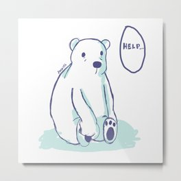 Sad Polar Bear Metal Print