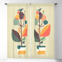 Potted plant with a bird Blackout Curtain