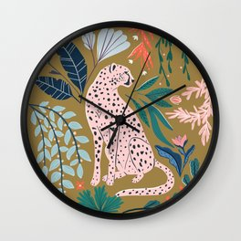 Modern cheetah jungle print Wall Clock