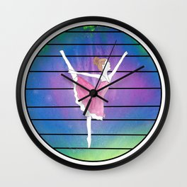 Ballerina in Abstract Colored Circle with Lines Wall Clock