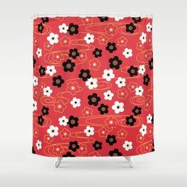 Red Sakura Kimono Pattern Shower Curtain