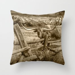 Texas Longhorn Steer by an Old Wooden Fence in Sepia Tone Throw Pillow