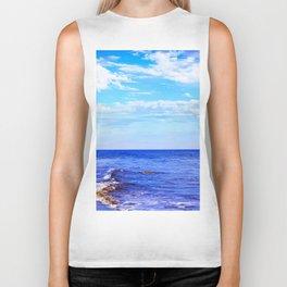 blue ocean view with blue cloudy sky in summer Biker Tank