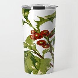 Holly Christmas Red Berry Travel Mug