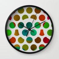 polka dot Wall Clocks featuring Polka Dot Polka Dots  by Paul Ashby