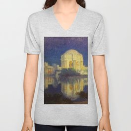 San Francisco Palace of the Fine Arts Temple and Lagoon landscape painting by Colin Campbell Cooper  Unisex V-Neck