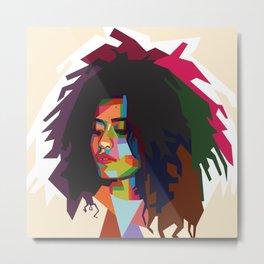 Frizzy girl pop art Metal Print